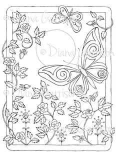 """Now on Etsy - """"Butterfly Beauties"""" Digi Digital Stamp by Diana Garrison $3.00"""