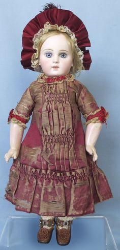 Antique Early Portrait Jumeau Bebe in Original Dress from abigailsattic on Ruby Lane