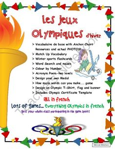 Olympic Themed Games-Les Jeux Olympiques d'Hiver -LOTS of activities in French!