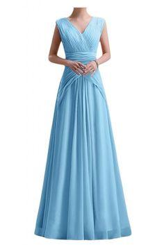 Gorgeous Bride Modern V-Ausschnitt Empire Chiffon Lang Abendkleid Festkleid Ballkleid -32 Blau