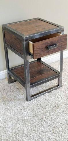Stand de nuit en bois reconquis industriel - Cool Welding Project Ideas for Home