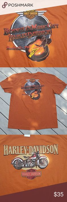 BOSWELL'S MUSIC CITY HD TEE NWT Harley-Davidson tee in a nice burnt orange color from Nashville, TN. Price wripped from tag as it was received as a gift. Never worn, in perfect condition. Harley-Davidson Shirts Tees - Short Sleeve