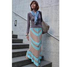 Crochet maxi skirt PATTERN, TUTORIAL for every row, beach crochet skirt transformable to a strapless dress, geometric crochet skirt pattern.
