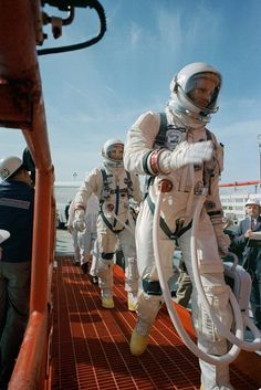 On March 16, 1966, Neil Armstrong (right) and David Scott boarded the Gemini VIII spacecraft and launched on a mission to conduct the first docking of two spacecraft in orbit. | Photo credit: NASA
