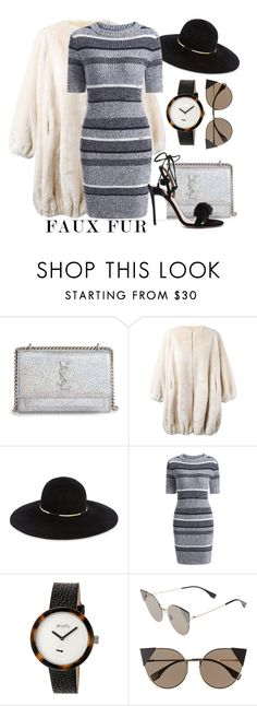 """""""Faux Fur Coats"""" by may-calista ❤ liked on Polyvore featuring Yves Saint Laurent, Moschino, Eugenia Kim, Simplify, Fendi, Aquazzura and fauxfurcoats"""