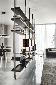 Shelving Design, Shelf Design, Cabinet Design, Home Office Design, Home Office Decor, Interior Design Kitchen, Home Decor, Tv Hanging From Ceiling, Steel Bookshelf