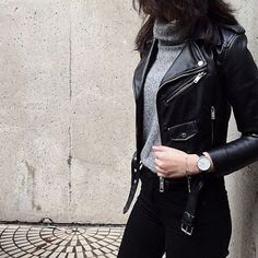Fall style | Grey turtle neck under black leather moto jacket and black jeans
