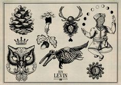 Tattoo Artwork by Ien Levin (love the hand and acorn one)