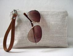 Wristlet, Simple Clutch Bag, Linen Clutch, Neutral, Natural Linen and Leather Bag for Women, Simple Purse, Handbag, Summer Clutch