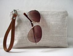 Wristlet, Simple Clutch Bag, Linen Clutch, Neutral, Natural Linen and Leather Bag for Women, Simple Purse, Handbag, Summer Clutch on Etsy, $40.14 CAD