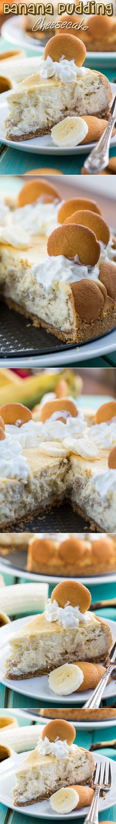 Banana Pudding Cheesecake: This decadent dessert flavored with fresh banana is a combination of two favorites...cheesecake and banana pudding. The filling's rich and creamy, with ~just~ the right amount of banana flavor. Top it all off with whipped cream and vanilla wafers & you have a showstopper southern dessert that would be perfect to serve on any occasion!
