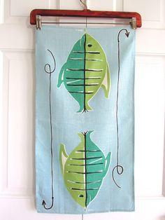 Vintage VERA Towel Fish Hook Line Ladybug Blue Green by NeatoKeen