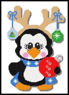 Holiday Penguin Reindeer 1/2 Plastic Canvas