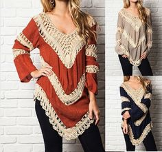 EFO for Umgee New Boho Colorblock Knit Tunic Top Plus Sizes XL, 1X, 2X #Umgee #Blouse #Casual