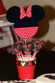 Minnie cake pops  BGB Triplets 2nd Birthday - Mickey, Minnie, & Donald
