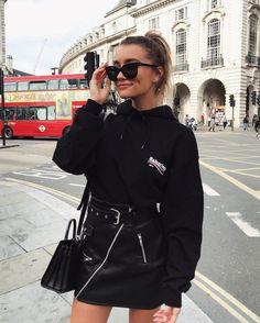 black on black | sweatshirt + leather skirt + bag
