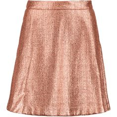 Markus Lupfer Charlotte metallic cotton-blend bouclé mini skirt (4,855 HNL) ❤ liked on Polyvore featuring skirts, mini skirts, rose gold, metallic skirt, zipper mini skirt, markus lupfer, short mini skirts and mini skirt slip