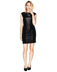 Dress with faux-leather panel