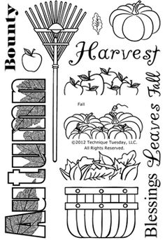 Technique Tuesday Fall - Clear Stamp. Clear Stamps on a 4x6 inch storage sheet. This set of Autumn-themed clear stamps includes a rake, pumpkins, and the phrase