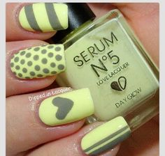 Gray and yellow nails