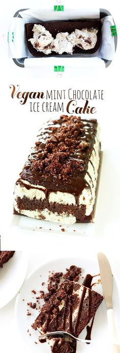 The easiest ice cream cake you'll ever make! Mint Chocolate with 5 layers. Made with Vegan Mint Brownie Ice Cream and 1-Bowl Vegan Chocolate Cake! #vegan #chocolate #cake