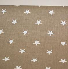 Verhokappa Stars, valkoiset tähdet, beige tausta, 60cm x 250cm