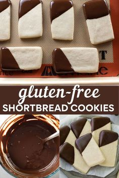 These easy gluten-free shortbread cookies are buttery, lightly sweet and crisp, yet perfectly tender. They're made with only FIVE ingredients and are especially delicious dipped in chocolate. #shortbread #glutenfree #cookies #glutenfreecookies Best Gluten Free Desserts, Foods With Gluten, Most Delicious Recipe, Delicious Desserts, Gluten Free Shortbread Cookies, No Bake Bars, Best Chocolate Chip Cookie, Baking Flour, Gluten Free Chocolate