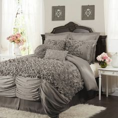 MSRP: $328.00 King One of the prettiest and most unique sets in the market. This bedding is made from a very soft brushed poly and each of the bowties are made and sewn by hand onto the comforter. The