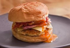 Simon Moss' bacon and baked bean breakfast burger with chilli-tomato relish
