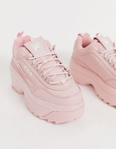 Browse online for the newest Fila Disruptor II platform wedge sneakers in pink exclusive to ASOS styles. Shop easier with ASOS' multiple payments and return options (Ts&Cs apply). Fila White Sneakers, Blue Sneakers, Dress With Sneakers, Wedge Sneakers, Platform Sneakers, Air Max Sneakers, Sneakers Fashion, Fashion Shoes, Platform Wedge