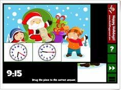"""""""Holiday puzzle clocks"""" es un juego, de mathplayground.com, en el que se componen bonitos puzzles navideños llevando las piezas de la parte inferior derecha al lugar del tablero que expresa el reloj con la hora planteada abajo. Haciendo click en las flechas aparecerá un nuevo puzzle."""