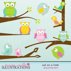 Out on a Limb Cute Digital Clipart for Card Design, Scrapbooking, and Web Design. $5.00, via Etsy.