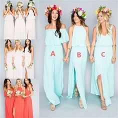 Pretty Young Junior Mint Mismatched Different Styles Side Split Chiffon Cheap Long Bridesmaid Dresses, WG197 The long bridesmaid dresses are fully lined, 4 bones in the bodice, chest pad in the bust,