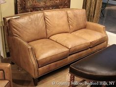 tan leather sofa with nail heads- Country Willow Furniture