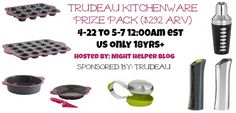 Great Kitchenware prize pack worth $292! Enter Now, ends 5-7-16!