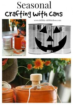 Super cute tin can pumpkin craft with #debbiedoos (tons of affordable craft ideas!!)