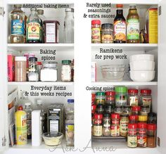 Great ideas on organizing a cupboard for cooking and spices
