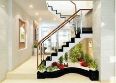 21 Inspiring Under Stairs Pebble Garden Ideas -Get the inspiration you need to plan your own indoor pebble garden for under your staircase. Home Stairs Design, Interior Stairs, Home Design Decor, Home Interior Design, House Design, Home Decor, Modern Interior, Staircase Wall Decor, Stair Decor