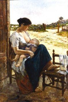 Adolfo Tommasi (Italian painter) 1851 - 1933  Maternità (Maternity), 1895  oil on board  45.5 x 31 cm. (17.9 x 12.2 in.)   signed 'Adelfo Tommasi', l.r.; labels, verso  private collection