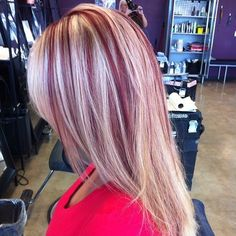 Red Hair With Blonde Highlights, Red Blonde Hair, Plum Hair, Chunky Highlights, Caramel Highlights, Hair And Makeup Tips, Hair Makeup, Hair Color And Cut, Hair Looks