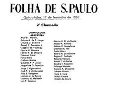 Aprovados Vestibular 1983 da Faculdade de Odontologia de Araçatuba - 2ª Chamada