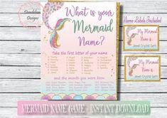 Mermaid name game, Mermaid game sign, Mermaid party game, Mermaid party decorations, Mermaid birthda Diy Mermaid Tail, Mermaid Names, Mermaid Sign, Mermaid Party Games, Mermaid Party Decorations, Mermaid Parties, Paper Doll Craft, Paper Dolls, Watercolor Mermaid
