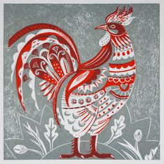 - Two Colour Relief Print sarah young two color relief.sarah young two color relief. Chicken Painting, Chicken Art, Art And Illustration, Rooster Illustration, Rooster Art, Red Rooster, Art Japonais, Chickens And Roosters, Letterpress Printing