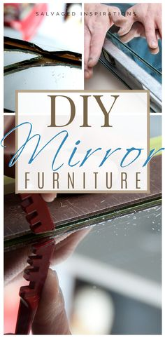 Are you loving this glam mirrored furniture trend? Learning how to cut your own glass and mirror has many benefits. You can create any shape or design and save time and money by re-purposing old mirrors! Diy Mirrored Furniture, Ikea Furniture, Furniture Makeover, Painted Furniture, How To Cut Mirror, Old Kitchen Tables, Glam Mirror, Mirrored Picture Frames, Paint Buckets