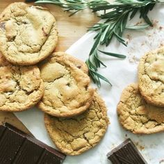Olive Oil, Rosemary and Salted Dark Chocolate Chunk Cookies