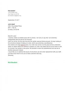 Exandle Business Letter Format For Kids Write Business Letter
