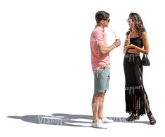 cut out man and woman with drinks standing and talking Drink Stand, Cut Out People, Harem Pants, Woman, Drinks, Fashion, Drinking, Moda, Harem Trousers