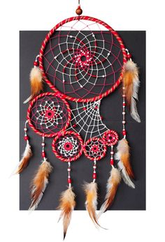 Dreamcatcher Red Ruby Dream Catcher Wall Hanging Native American Tribal Large Big Leather Maroon Sangria Burgundy Unique gift Authentic D E S C R I P T Grand Dream Catcher, Dream Catcher Craft, Large Dream Catcher, Dream Catchers, Dream Catcher Mobile, Los Dreamcatchers, Diy And Crafts, Arts And Crafts, Native American Crafts