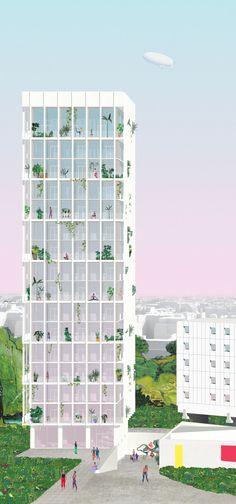 Annexe de la Maison du Brésil, CIUP Paris - Vue de la Tour - Candice Blanc et Romain D'Incau