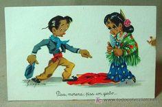 ANTIGUA POSTAL, EDICIONES PABLO DUMMATZEN, MOURO, BAILE, SERIE 1090, 1950 (Postales - Dibujos y Caricaturas)
